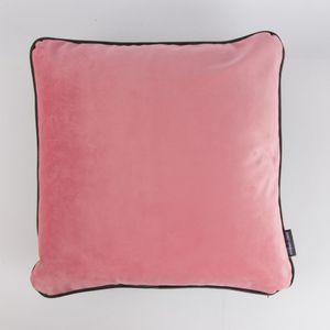 SCHÖNER LEBEN. Samtkissen Wendekissen mit Kederumrandung und Federfüllung grau rosa 50x50cm