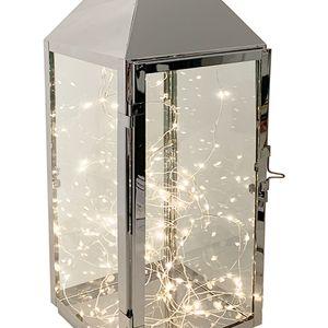 XXL Edelstahl-Laterne 54cm +  LED Tropfen Lichterkette