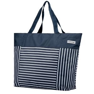 anndora XXL Shopper blau weiß - Strandtasche 40 Liter Schultertasche Einkaufstasche - Navy