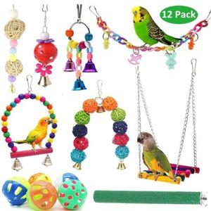 12 Stk Vogelspielzeug Papagei Schwingen Toys Kauen hängen Glocke Vogelkäfig Spielzeug Sets