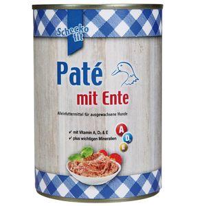 Schecker 24 x 400g Cremiges Paté Hundefutter Dosenfutter - mit leckerer Ente