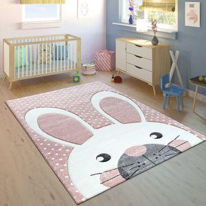 Kinderteppich Kinderzimmer Konturenschnitt Niedlicher Hase In Creme Rosa, Grösse:120x170 cm