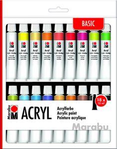Marabu Acrylfarben Set BASIC, 18 x 12  ml Tuben