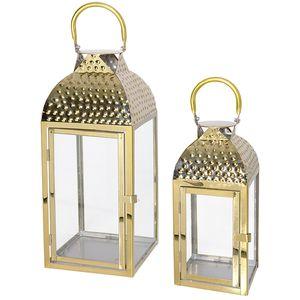 2er Luxus Laternen / Gartenlaternen Set Edelstahl Goldfarben