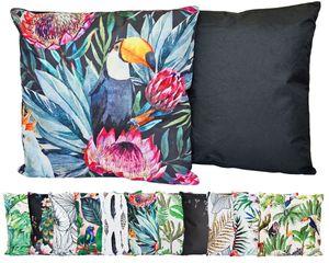 JACK Outdoor Lounge Kissen 45x45cm Motiv Dekokissen inkl. Füllung Wasserfest Sitzkissen Garten Stuhl, Farbe:Tucan