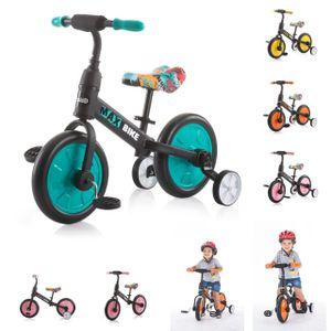 Chipolino Dreirad, Laufrad 2 in 1, Max Bike, 10 Zoll Räder, Pedale, Stützräder, Farbe:türkis