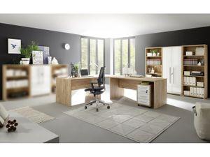 Büromöbel 110605 Office Line in Eiche mit weißen Glanzfronte
