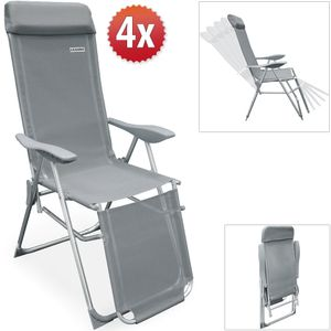 Casaria 4er Set Alu Gartenstuhl Liegestuhl mit Fußablage 7-fach verstellbare Lehne leicht atmungsaktiv Kopfpolster Klappstuhl Hochlehner