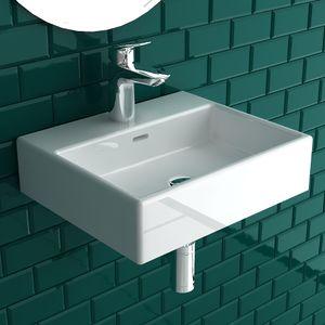 Alpenberger Handwaschbecken mit Überlauf 42x36 cm | Großzügiger Waschbereich | Waschbecken aus robuster Keramik | Waschtisch optimal für kleine Bäder