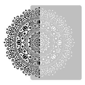 Wiederverwendbare Wandschablone aus Kunststoff // Durchmesser 59cm // GEOMETRISCH - MANDALA #1 - BLUME // Muster Schablone Vorlage