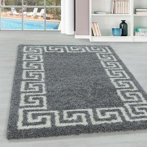 Teppium Hochflor Teppich, Wohnzimmerteppich, Antike Muster, Rechteckig, Farbe:GRAU,120 cm x 120 cm Rund