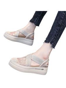 Damen Fashion Loafers Hollow Lace Stoffschuhe Einfarbige Schuhe Round Toe Atmungsaktive Einzelschuhe,Farbe: Beige ,Größe:36