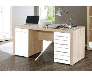 39-002-68 Cube Schreibtisch PC-Tisch Arbeitstisch Bürotisch Eiche Sägerau / Weiss ca. 160 cm