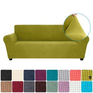 Stretch Sofa Schonbezug Elasthan Anti-Rutsch Soft Couch Sofabezug 3-Sitzer Waschbar für Wohnzimmer Kinder Haustiere (Zartes Grün)