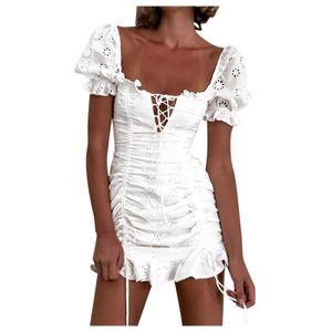 Frauen eingewickelt Brusttasche Hip Rock Spitzenkleid Plissee V-Ausschnitt Partykleid Größe:M,Farbe:Weiß