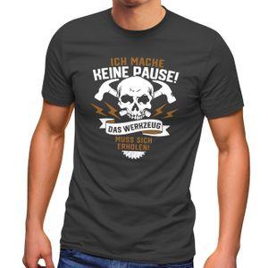 Herren T-Shirt Handwerker Heimwerker Spruch lustig Totenkopf Skull Werkzeug Fun-Shirt Moonworks® anthrazit L