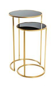 Haku 2-Satz Tisch, gold-schwarz - Maße: Ø 30/35 cm x H 50/60 cm; 21218