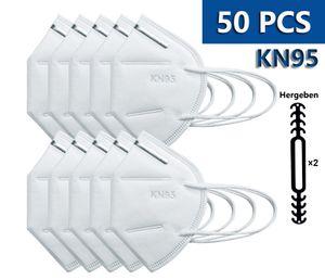 KN95 Maske mit , 95% Filtration Filter, Atemschutzmaske, Schutzmaske, Gesichtsschutz, KN95 masken schutz, Einwegmaske, Sicherheitsmaske Staubmaske Schutz gegen KN95 50 Stück Masken