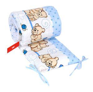 BABYLUX Bettumrandung NESTCHEN mit Kopfschutz 210 x 30 cm  63. Teddybären Blau