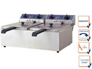 Profi Doppel Fritteuse, Edelstahl, 2x 3 kW, 2x 6L, Sicherheitsthermostat