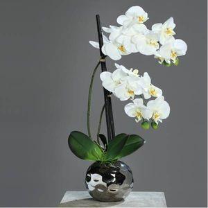 künstliche Orchidee in silbernem Keramiktopf H. 50cm creme weiß DPI