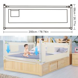 200x68cm Kinderbettgitter Bettschutzgitter Kinder Bettgitter Baby Fall Bettschutz Rausfallschutz