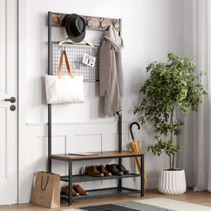 VASAGLE Garderobenständer mit Sitzbank 9 Haken und Schuhregal 187 x 92 x 41,5cm Garderobe mit Memo-Board aus Drahtgitter Vintage HSR46BX