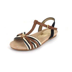 TOM TAILOR Damen Sandalen Braun/Blau/Beige, Schuhgröße:EUR 40