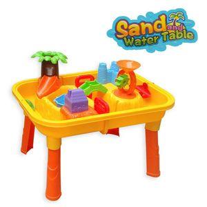 DRULINE Sand & Wasser Spieltisch Spielzeug Sandspieltisch Wasserspieltisch Buddeltisch Zubehör 2IN1inkl.Kinder Sandspielzeug ab 3 Jahren 67x42x40 cm Gelborangebunt(24TLG)