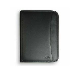Schreibmappe Konferenzmappe A4 Dokumentenmappe aus Leder mit stabilen Reißverschluss, schwarz