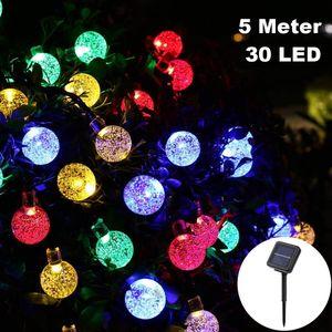 Solar Lichterkette 5 Meter/30 LED Deko Luftblasen Seifenblasen RGB Bunt Solarbetrieben für Party Deko Schmuck Girlande Dekoration Garten Balkon
