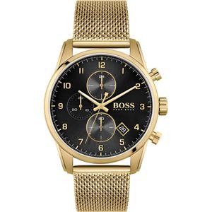 Hugo Boss Chronograph Herren Uhr In Edelstahl/Edelstahl Gold/Schwarz   1513838