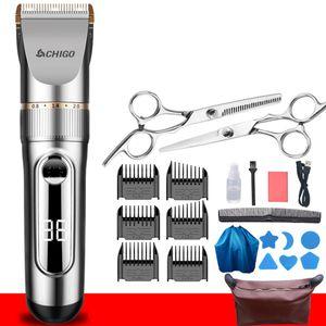 Haarschnitt-Set, wiederaufladbare wasserdichte Herren-Haarschneidemaschine, LCD-Farbdisplay