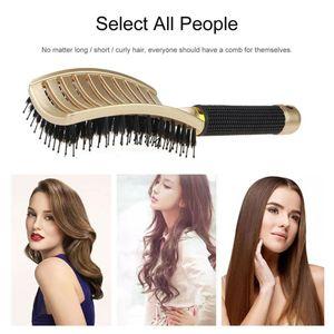 Frauen Kopfhaut Massage Kamm Mähne und Nylon Haarbürste Gold