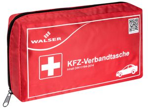 Walser KFZ Verbandstasche gemäss DIN 13164, 23 x 13 x 5,5 cm rot, 44264