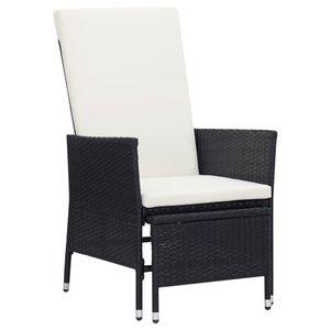 vidaXL Garten-Liegestuhl mit Auflagen Poly Rattan Schwarz