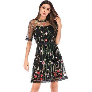y Frauen Minikleid Floral Stickerei Sheer Mesh Kurzarm Stehkragen Durchsichtig Elegante Partykleid【Schwarz S】S (US2 UK / AU6 EU32)