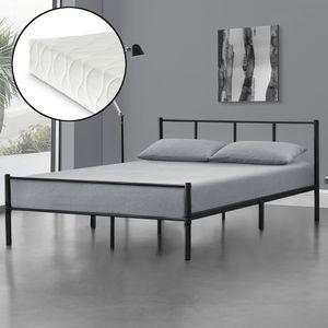 Metallbett Laos 160x200 cm Doppelbett mit Kaltschaum-Matratze  Standard 100  Bett aus Stahl Gästebett Schwarz [en.casa]