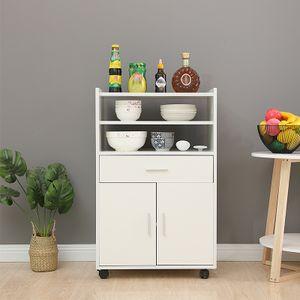 Küchenwagen Servierwagen Rollwagen Küchentrolley mit 2 Türen und Schubladen Küchenschrank 59x40x92cm Weiß