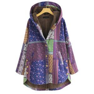 Frauen Mode Retro-Druck Spleißen Knopf Kapuze Strickjacke Langarm Mantel Größe:L,Farbe:Lila