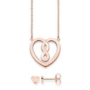 Thomas Sabo Damen-Halskette Herz mit Ohrring 925 Sterling Silber rosé gold 42 cm Infinity SET0558-415-40-L42v