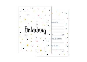 Friendly Fox Einladung Dreiecke - 12 Einladungskarten zum Geburtstag Kinder Teenager Mädchen Jungen - Karten mit Umschlag - Partyeinladung - modernes Design - Triangles (beige)
