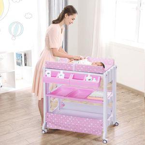 GOPLUS Changing Table Wickelkombination Wickeltisch mit Badewanne Wickelauflage drehbar farbwahl (Rosa)