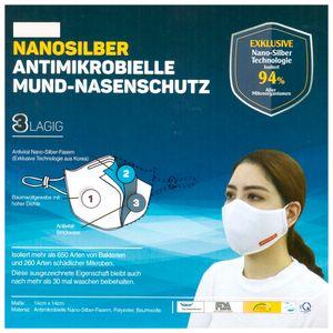 2 x Atemschutzmaske Mundschutz NANOSILBER Waschbar Wiederverwendbar  antibakteriell 3 lagig 94% Filter