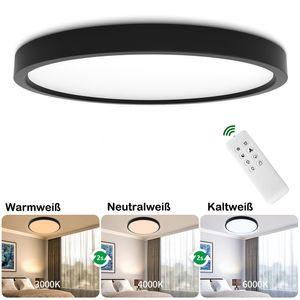 Ultraslim LED Deckenleuchte 24W Dimmbar Deckenlampe Wohnzimmer Wandlampe mit fernbedienung, Schwarz