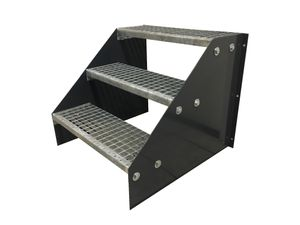 3 stufige freistehende Stahltreppe Standtreppe Breite 60cm Höhe 63cm Anthrazit