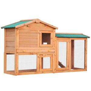 PawHut Hasenstall Hasenkäfig Kaninchenstall Kaninchenkäfig Kleintierstall Hasen Stall mit Freigehege