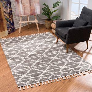 Teppich Wohnzimmer Shaggy - Creme Grau Deko Schlafzimmer Hochflor mit Fransen Flauschig Rautenmuster , Teppich Größen:120 x 160 cm