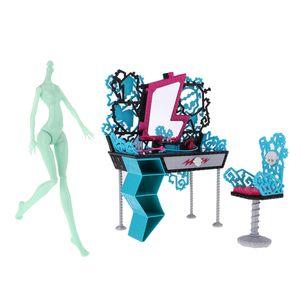 Stilvolle 1/6 Nackte Mädchen Puppe Körper \\u0026 Schminktisch Stuhl Für Monster High Puppe