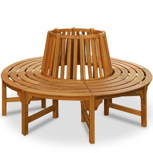 Baumbank 360° FSC®-zertifiziertes Eukalyptusholz Ø 190 cm Vorgeölt Rundbank Gartenbank Holzbank Bank